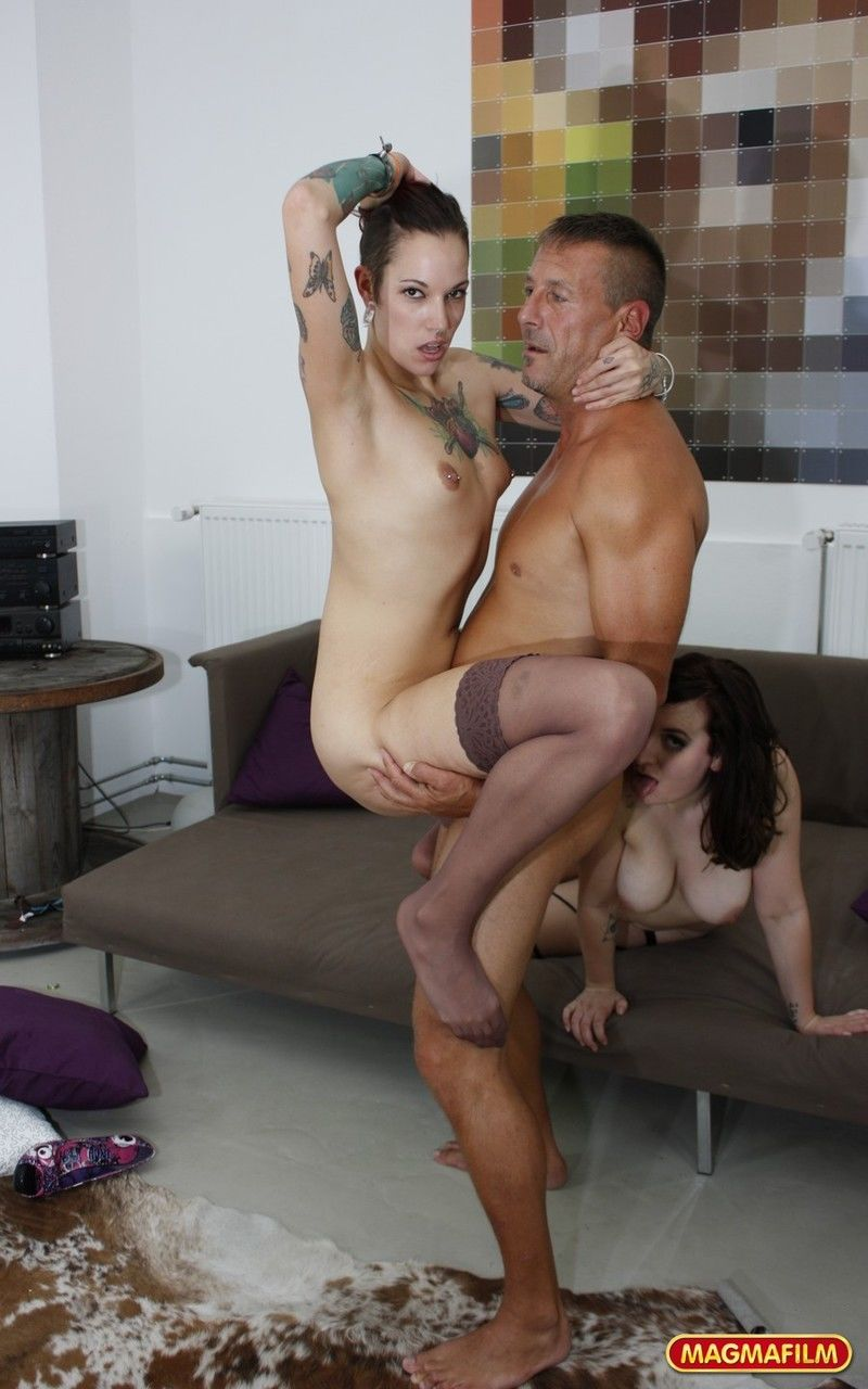 Tattooed female Silvia Rubi and her gf eat some ass during a threesome fuck