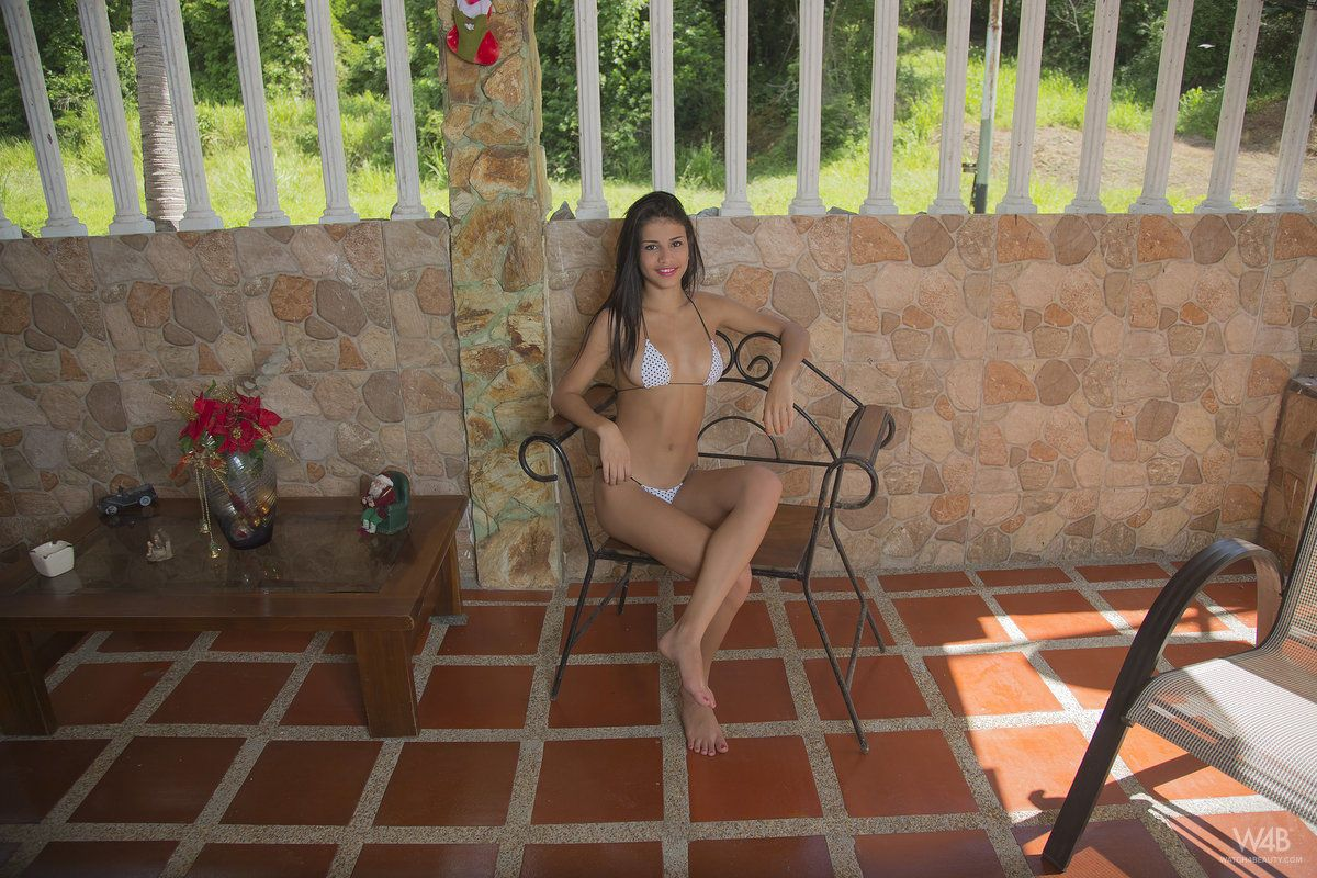 Sexy Latina teen Denisse Gomez finally her removes her bikini top after tease