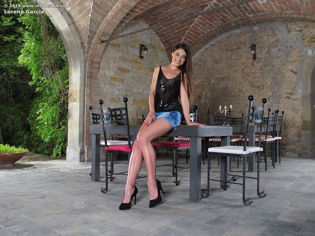 Brunette model Lorena Garcia pleases her pink cunt with large dildo in cellar