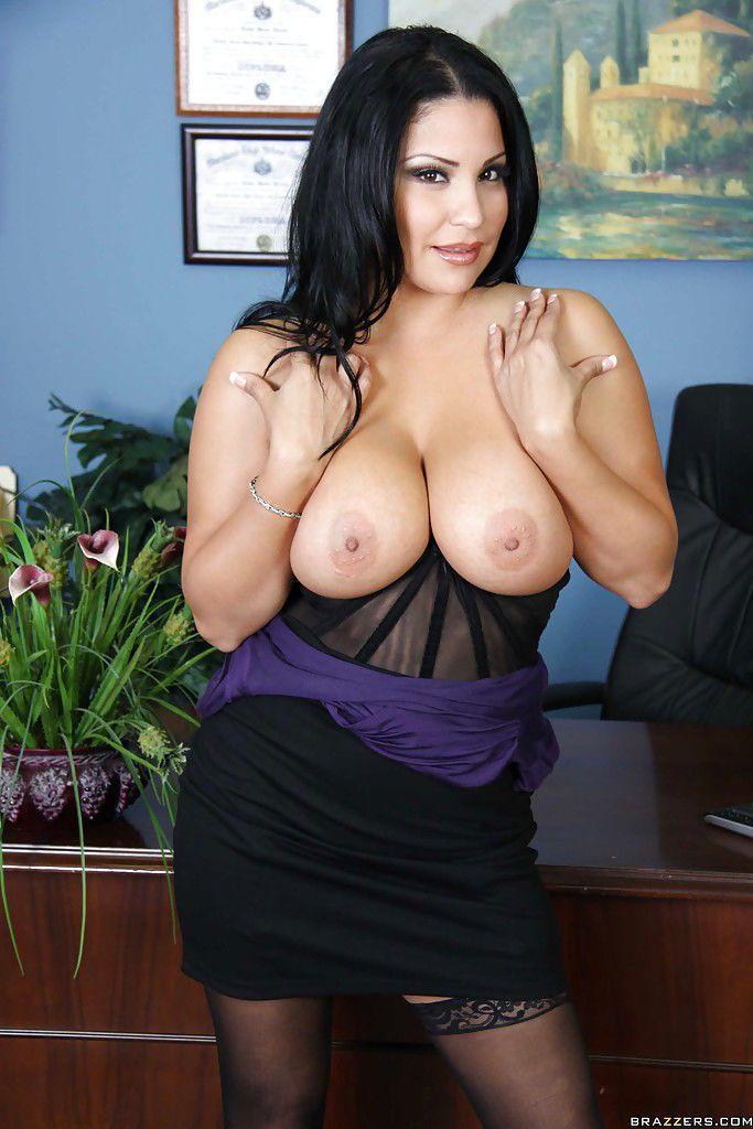Latina MILF Sophia Lomeli strips to lingerie and stockings in office