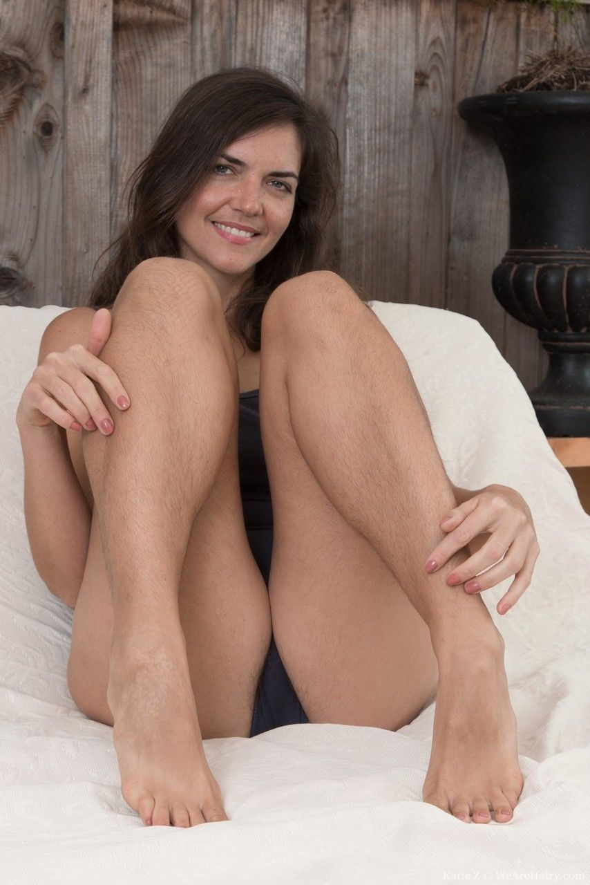 Very hairy Katie Z proudly shows off her furry armpits and crotch