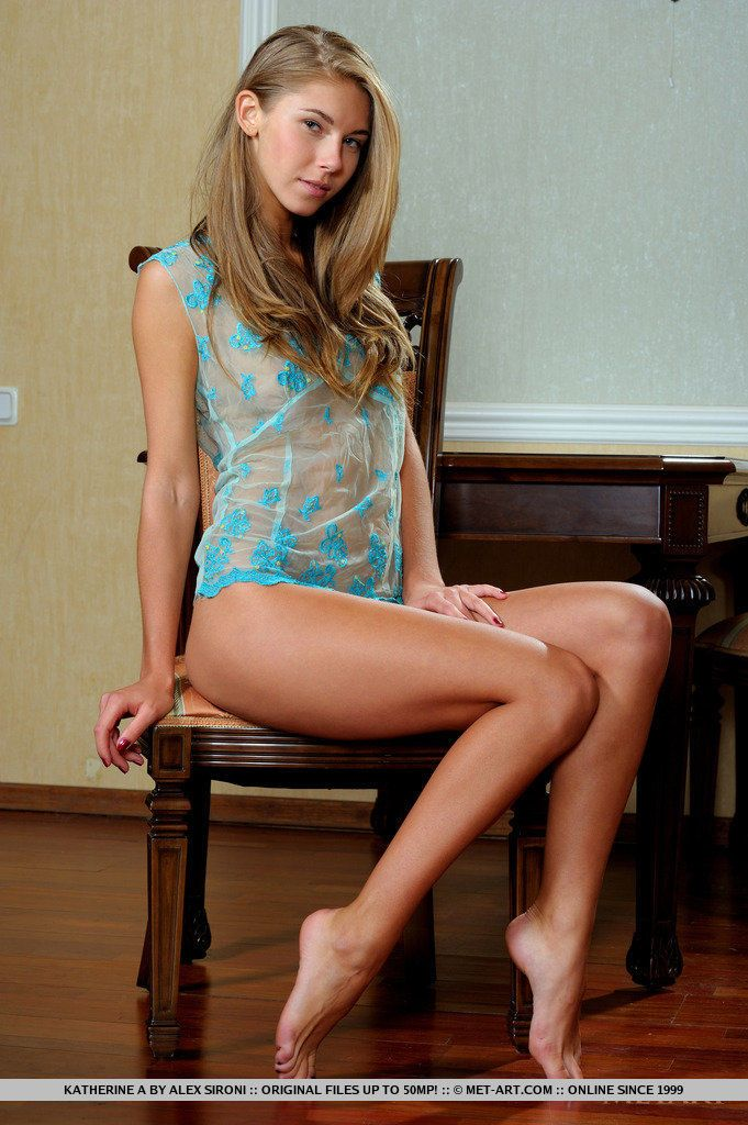 Teen glamour model Katherine A ridding see thru lingerie to pose naked