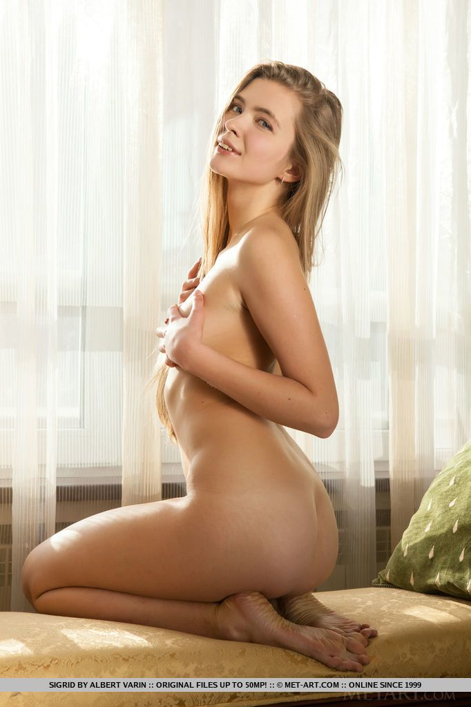 Dirty blonde Euro Sigrid naked and showing off her perfect ass & tiny tits