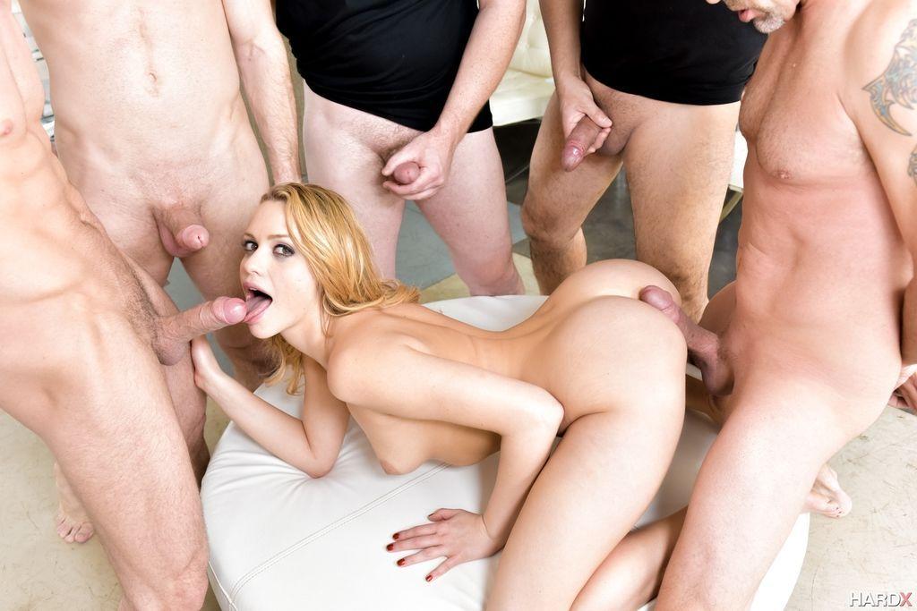 Hot chick Mia Malkova realizes her gangbang fantasies with four big cocks