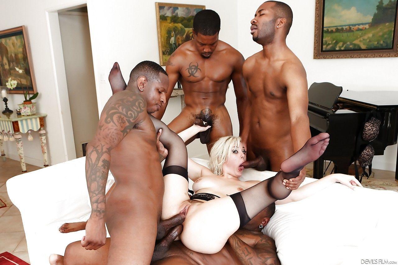 Blonde slut Jenna Ivory gets double penetration & cum on tongue in gangbang