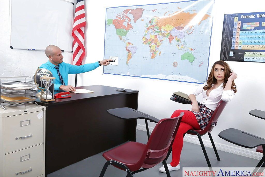 Teen pornstar Joseline Kelly giving teacher blowjob in schoolgirl uniform