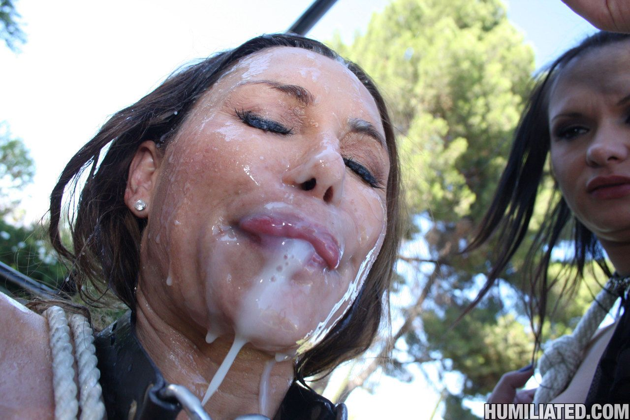 Female camper Sky Taylor gets forced into eating cum by a kinky couple
