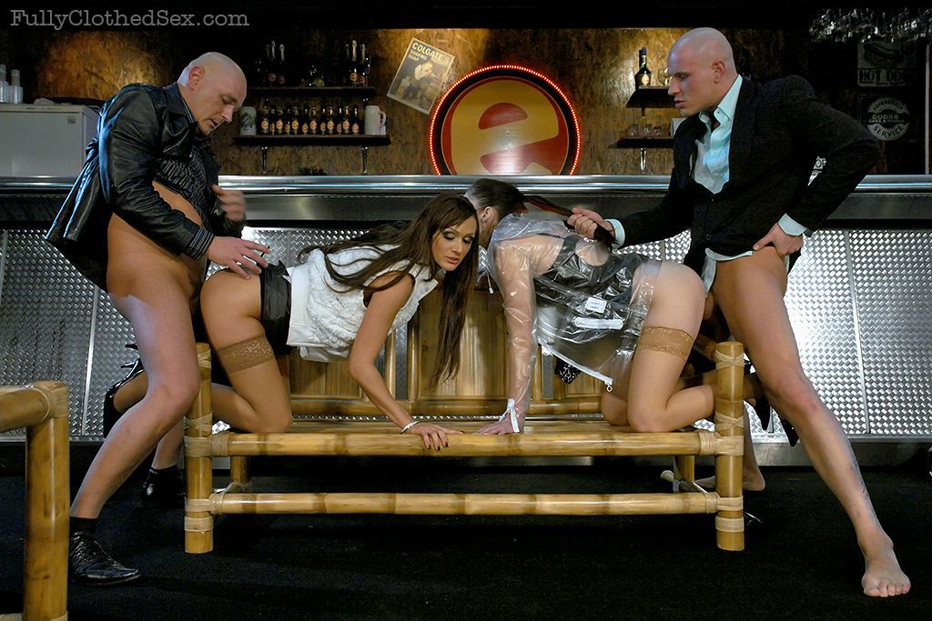 Virus Vellons & Kate Gold have a fully clothed groupsex with a bald guy
