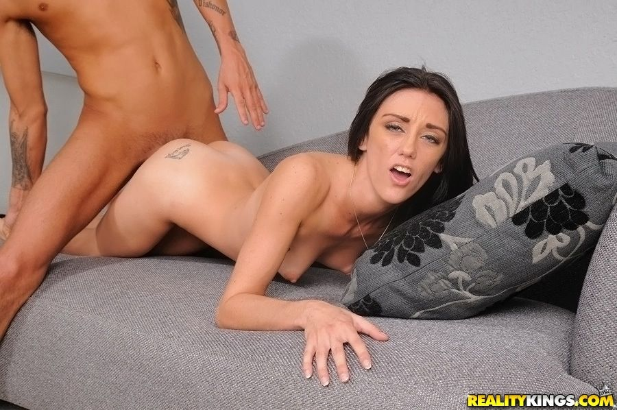 Skinny chick fucks a big stiff cock for cum on her rack and face