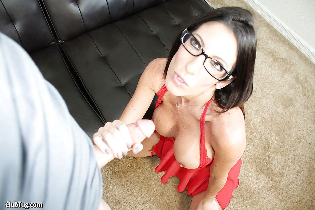 Slender secretary in glasses is wanking this juicy hard wiener