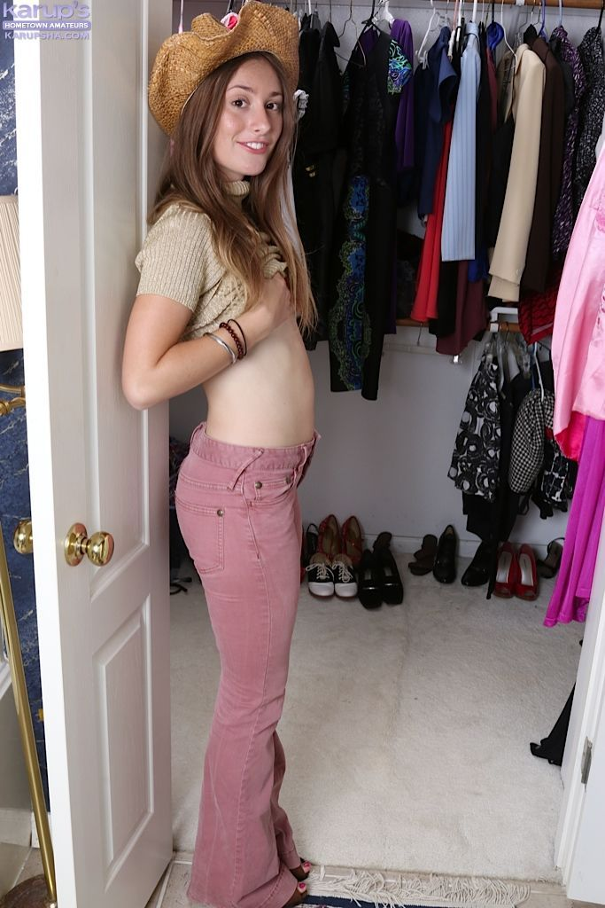 Young girl next door model Lilith Black showing off small teen tits