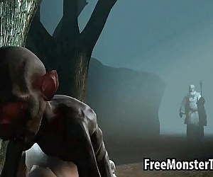 Hot 3D babe gets fucked hard in the woods by Gollum - 3 min
