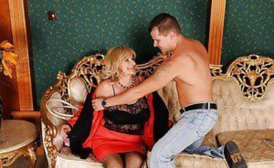 Big busted granny gets her hairy cunt fingered and fucked hardcore
