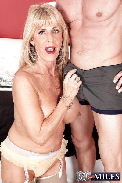 Blonde grandma Phoenix Skye giving BJ before getting banged in tan nylons