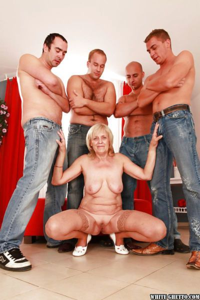 Lascivious granny gets blowbanged and fucked by four well-hung guys