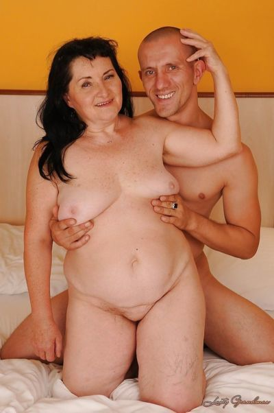 Salacious granny with fatty curves gets fucked by a younger lad