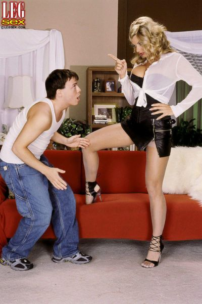 European aged woman Vicky Vette seduces a younger dude and bounces on his cock