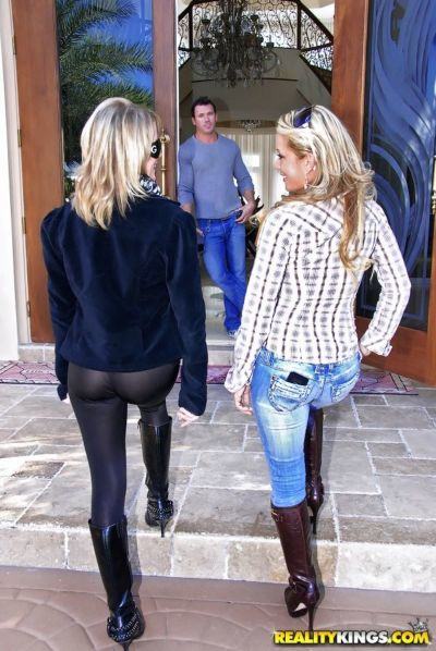 Dirty blonde moms get seduced by a stud thats looking for a threesome