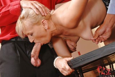 Mature Samantha White presents blowjobs for two BDSM addicted guys - part 2