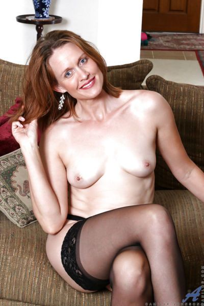 Mature solo model Camille Johnson flashing upskirt stocking tops and ass - part 2