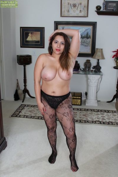 Mature Italian BBW CeCe Giovanni baring huge juggs and shedding pantyhose - part 2