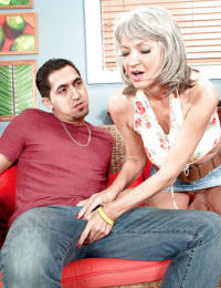 Petite older lady Cheyanne taking big cock deep inside pierced pussy