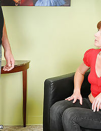 Clothed mature woman gifts the greatest handjob to her horny male