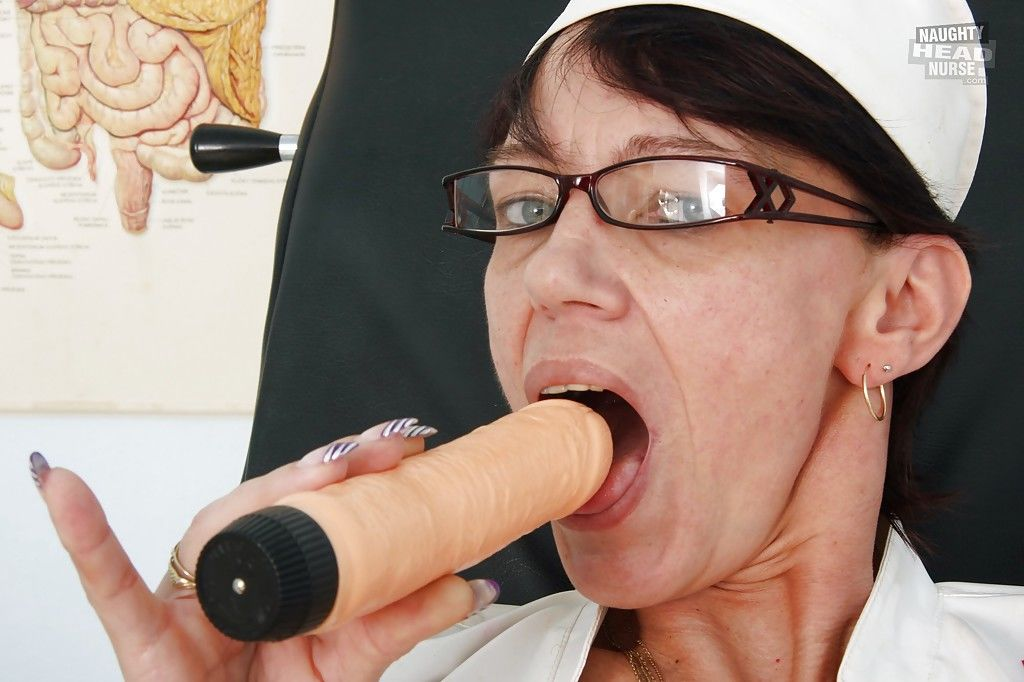 Bad Granny Nurse Strips off her Panties to Toy with her Dripping Pussy - part 2