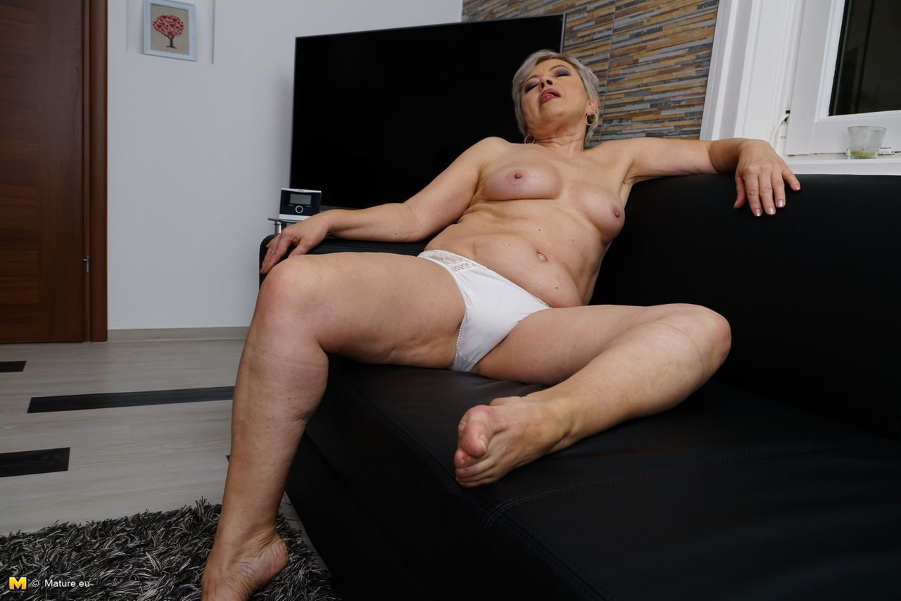 Chubby grandmother strips down to her white cotton underwear