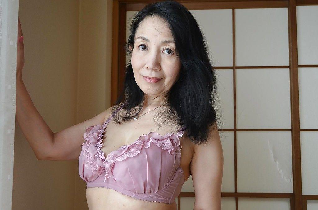 Great looking natural tits on Tsuyako Miyataka who is a hairy mature