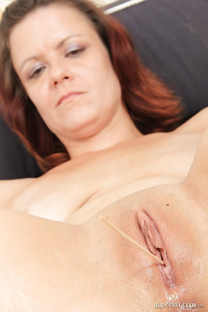Sassy mature lassie gets her shaved cunt stuffed with gyno tools and sex toys - part 2