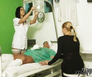 First class blowjob from a busty nurse in uniform Denise Sky