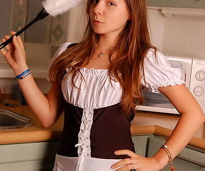 Pretty teen hottie in slutty maid..