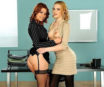 Glamorous girls make office sex..