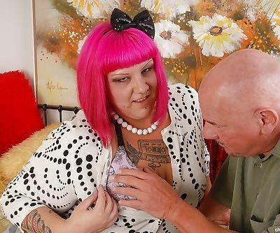 Big tits fatty Aubrey has her..