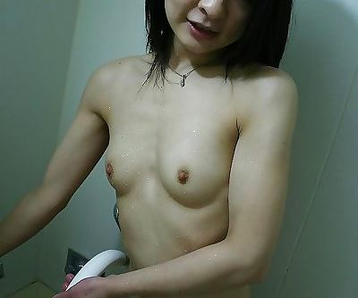 Asian MILF exposing her shaved creampied pussy in close up after shower