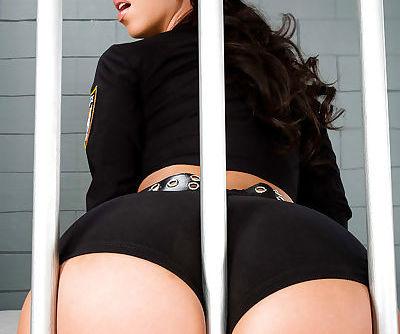Oiled policewoman Anikka Albrite..