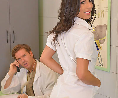 Brunette Euro nurse Alexa Tomas..