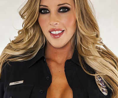 Sexy police babe Samantha Saint taking off her uniform and lingerie