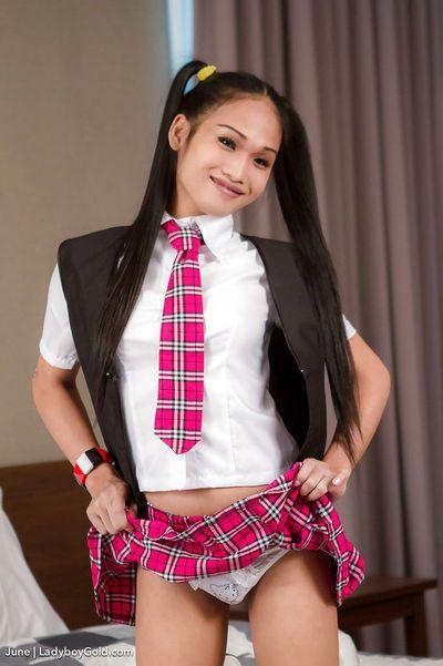Naughty Thai ladyboy June schoolgirl in the teachers bedroom