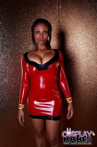 Black babe Lola Marie strutting in latex cosplay dress before masturbating