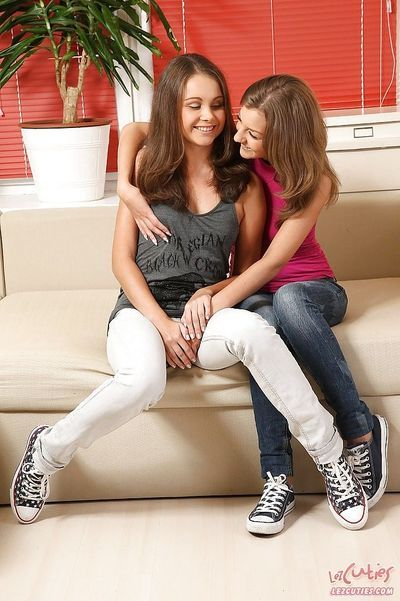 Lusty teens Lizzie & Inna licking and toying each other\\\