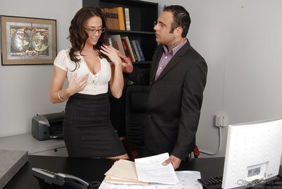 Filthy secretary Chanel Preston gives a blowjob and gets bonked hardcore