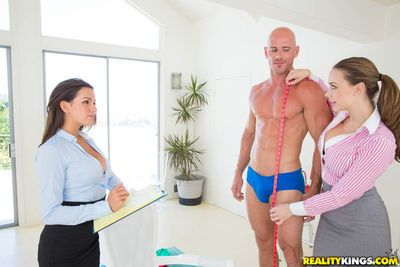 Clothed chicks Chanel Preston & Shae Summers hike skirts for 3some with stud