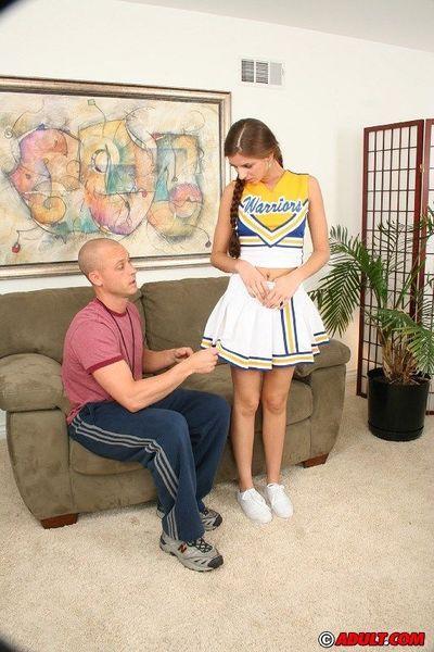 Slutty cheerleader Veronica Stone gets her hairy gash slammed tough