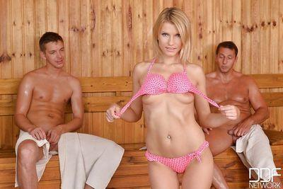 Wet and leggy Euro girl Karina Grand taking anal while giving BJ in sauna