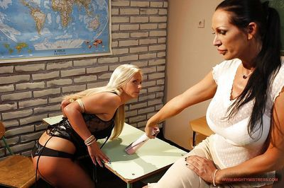 Hot Mandy Bright is into female domination toying Barbie White