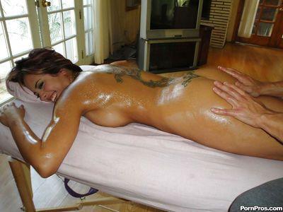 Beautiful Latina female Mulani Rivera having nice tits oiled before sex