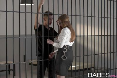 Ginger head in glasses Linda Sweet lets her ass drilled behind bars