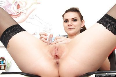Babe in uniform Anna gets full frontal exposure and is happy about it